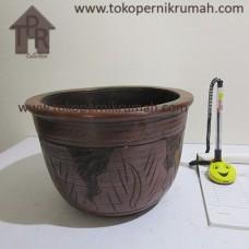 Gerabah, Natural Pot Motif Daun - T15