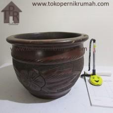 Gerabah, Natural Pot Motif Bunga - T19