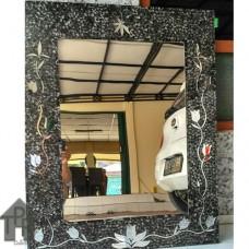 Cermin, Mosaik Portrait Hitam - B1