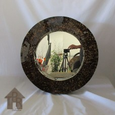 Cermin, Mosaik Bulat Coklat Scramble Gold - P