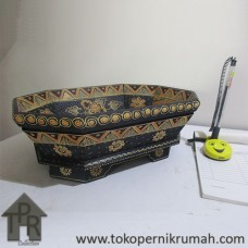 Kayu Batik, Wadah Buah Segi 8 - Hitam/Creamy