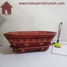 Kayu Batik, Wadah Buah Segi 8 - Merah/Creamy