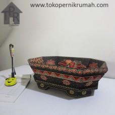 Kayu Batik, Wadah Buah Segi 8 - Hitam/Merah