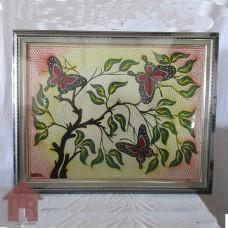 Lukisan - Dot Painting Motif Bunga-1